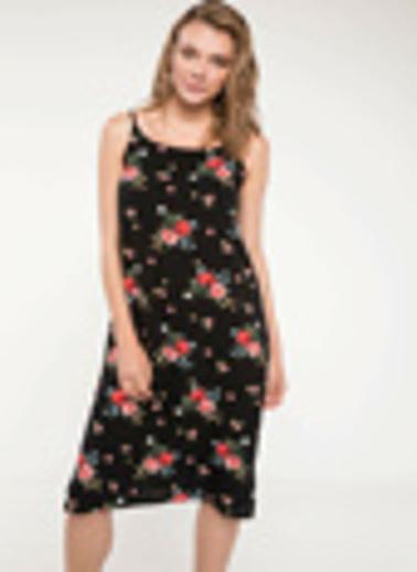 DeFacto Çiçek Desenli İnce Askılı Elbise Siyah